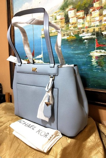Michael Kors Leather Pale Tote in Blue Image 6