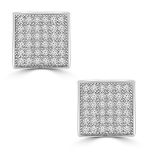 Madina Jewelry White 0.72 Ct Round Cut Cubic Zirconia Stud In Screw Back Earrings