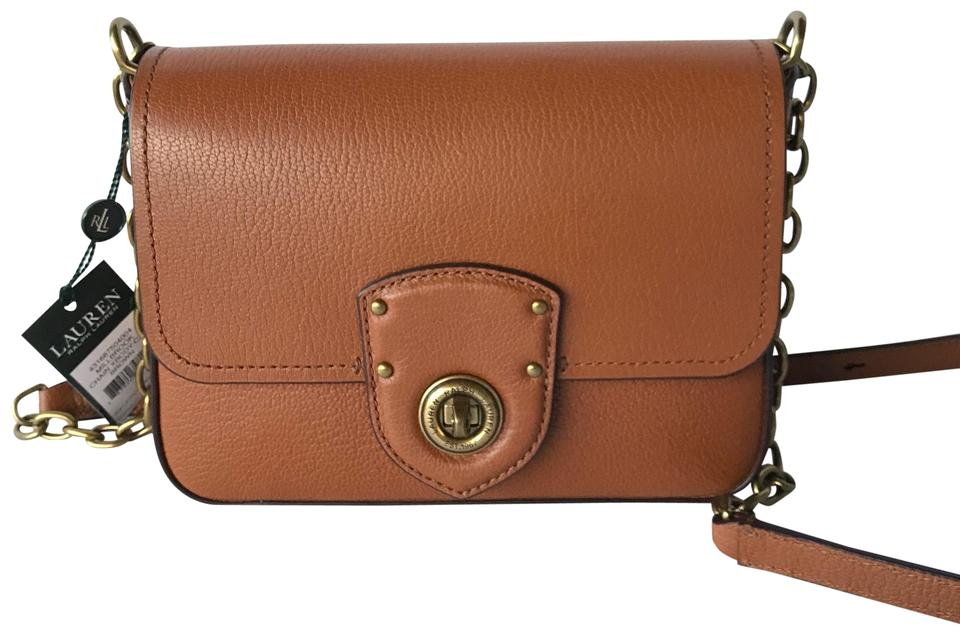 3e6bd8dafd Ralph Lauren Millbrook Chain Brown Leather Cross Body Bag - Tradesy