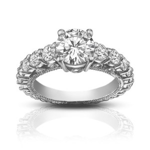 Madina Jewelry White 2.25 Ct Ladies Round Cut Diamond Accented Engagement Ring