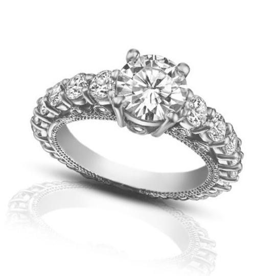 Madina Jewelry White 2.25 Ct Ladies Round Cut Diamond Accented Engagement Ring Image 1