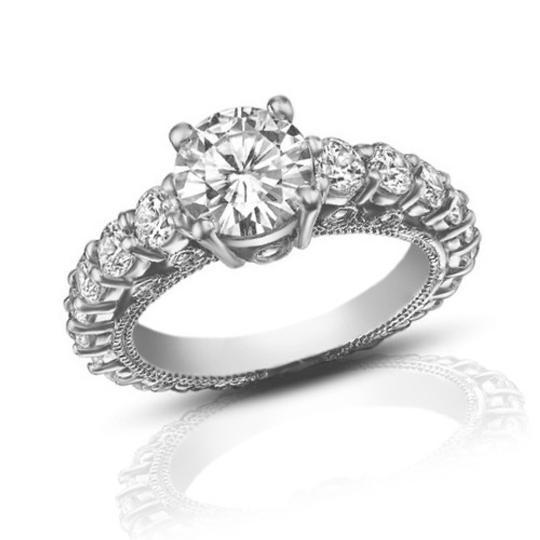 Madina Jewelry White 2.25 Ct Ladies Round Cut Diamond Accented Engagement Ring Image 2