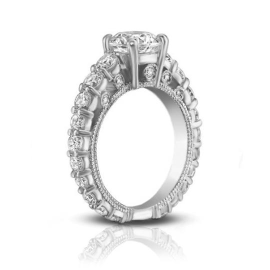 Madina Jewelry White 2.25 Ct Ladies Round Cut Diamond Accented Engagement Ring Image 3
