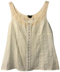Theory Embroidered Classic Cotton Sleeveless Sleek Top Cream