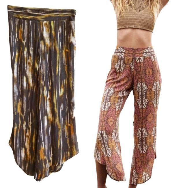 Free People Pull On Easy Fit Breezy Smock Waist Comfy Waist Flare Pants Brown Image 1