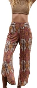 Free People Pull On Easy Fit Breezy Smock Waist Comfy Waist Flare Pants Brown