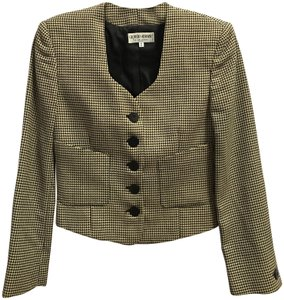 Giorgio Armani Wool Short Cropped Sweetheart Neckline Two Pockets Cream and Black Blazer