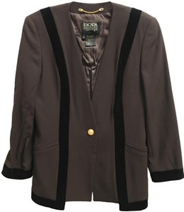 Escada Jacket Wool No Lapel Velvet Accents Brown and Black Blazer