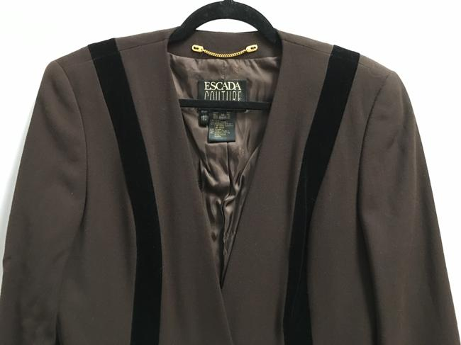 Escada Jacket Wool No Lapel Velvet Accents Brown and Black Blazer Image 1