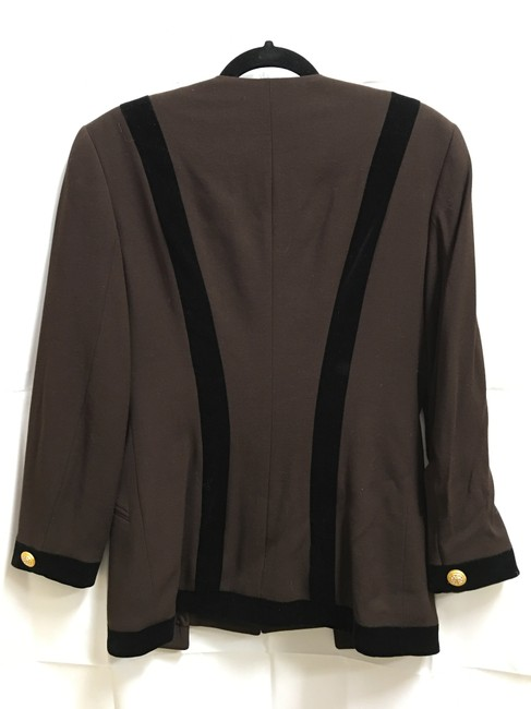 Escada Jacket Wool No Lapel Velvet Accents Brown and Black Blazer Image 5