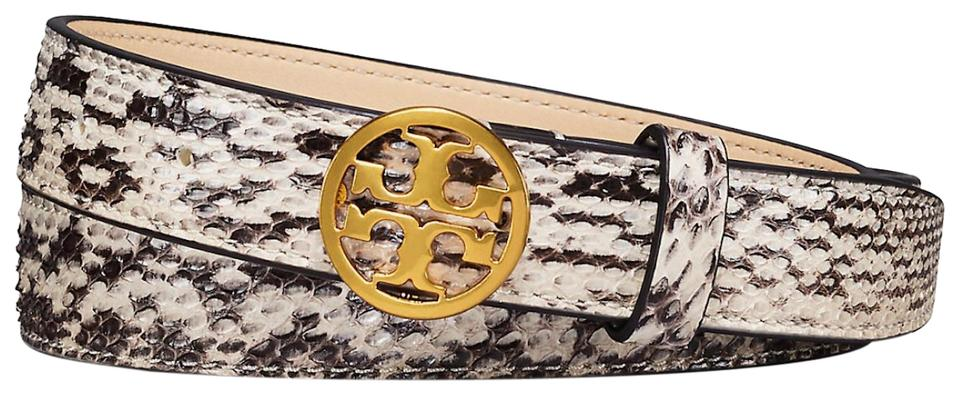 84f7deaf75b1 Tory Burch NEW TORY BURCH SNAKESKIN ANIMAL PRINT LOGO BELT NWT DUST BAG XS  Image 0 ...