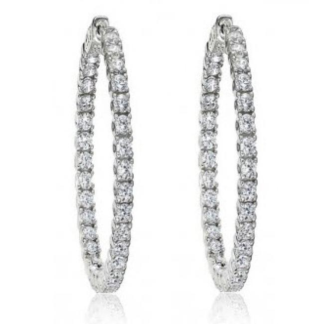 Item - White 2.50 Ct Ladies Round Cut Diamond Inside Outside Hoop Earrings