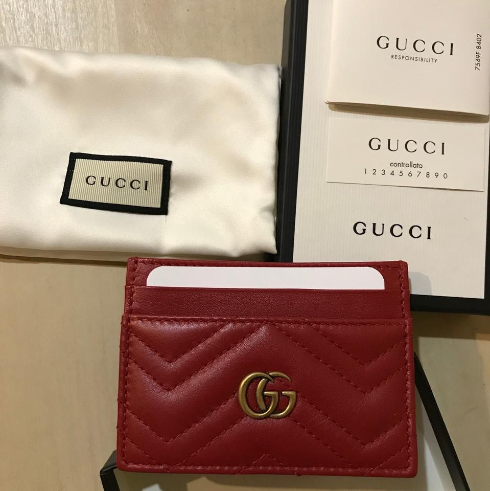 b21dcb3cfab Gucci Red Marmont Quilted Leather Card Holder Wallet - Tradesy