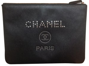 Chanel New Deauville New Deauville Deauville Caviar Caviar Leather Black Clutch