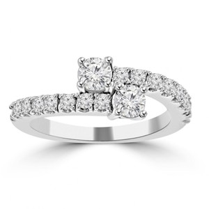 Madina Jewelry White 0.95 Ct Ladies Round Cut Diamond Anniversary Band Ring