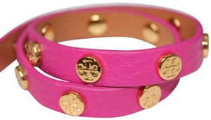 09729e366a33 Tory Burch NEW TORY BURCH PINK LOGO STUDDED DOUBLE WRAP BRACELET DUST BAG  NWT
