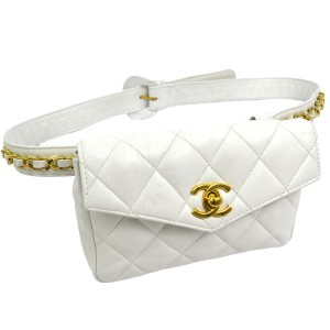 Chanel Leather Limited Edition Vintage Quilted European white Clutch