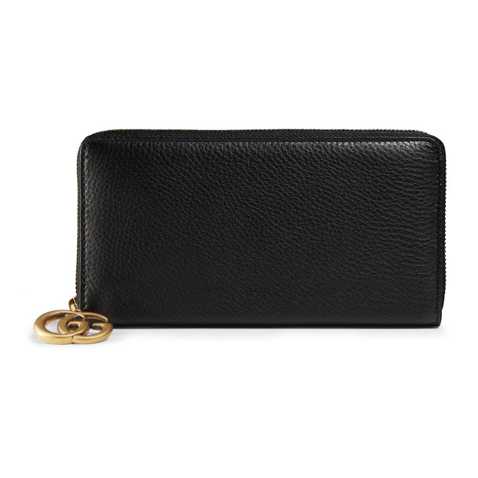 97351d632bb Gucci Black Marmont Pebbled Leather Gg Zip Around Wallet - Tradesy