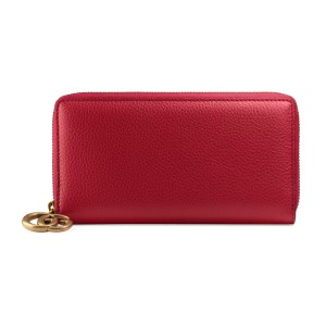 Gucci Red Pebbled Leather GG Marmont Zip Around Wallet