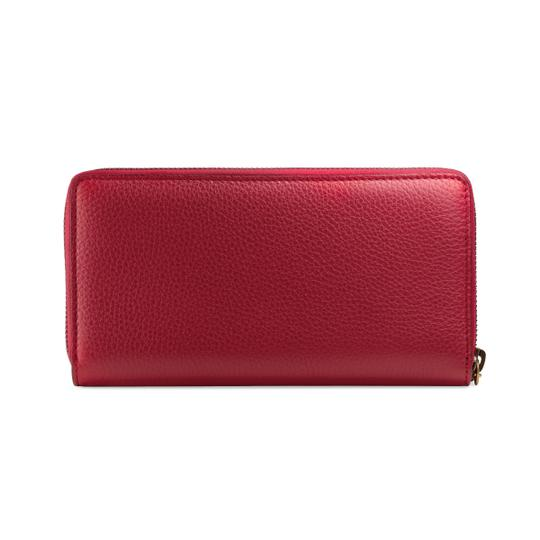 Gucci Red Pebbled Leather GG Marmont Zip Around Wallet Image 1
