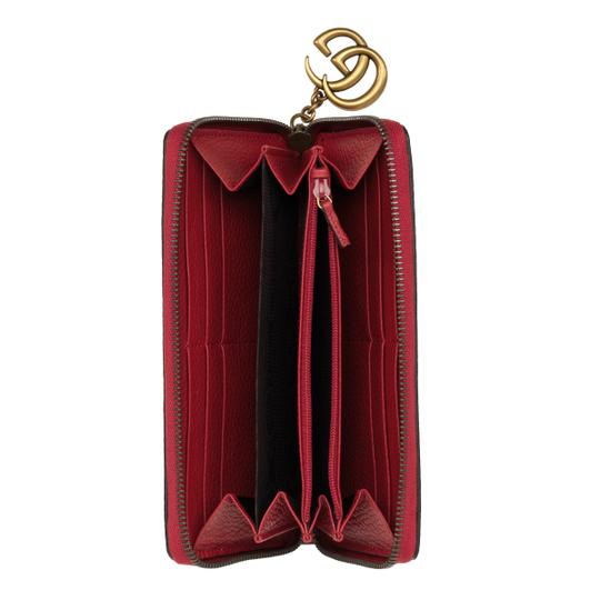 Gucci Red Pebbled Leather GG Marmont Zip Around Wallet Image 2