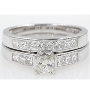 14k White Gold Gia Certified 1.30 Ct Princess Cut Channel Set Engagement Ring