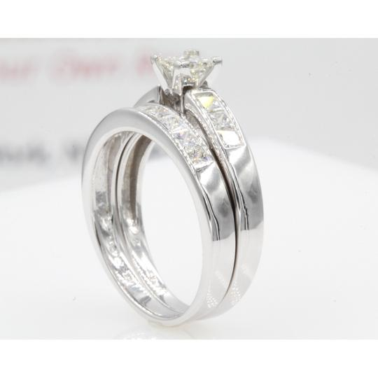 14k White Gold Gia Certified 1.30 Ct Princess Cut Channel Set Engagement Ring Image 3