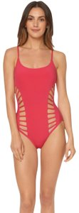 Red Carter RED CARTER SPLICE & DICE SIDE CUT OUT ONE PIECE FANCY PINK SWIMSUIT