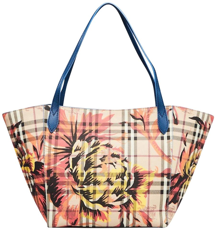 2eee19f4749f Burberry New Haymarket Check Coated Canvas Peony Rosse Print Blue Mineral  Pvc   Leather Tote