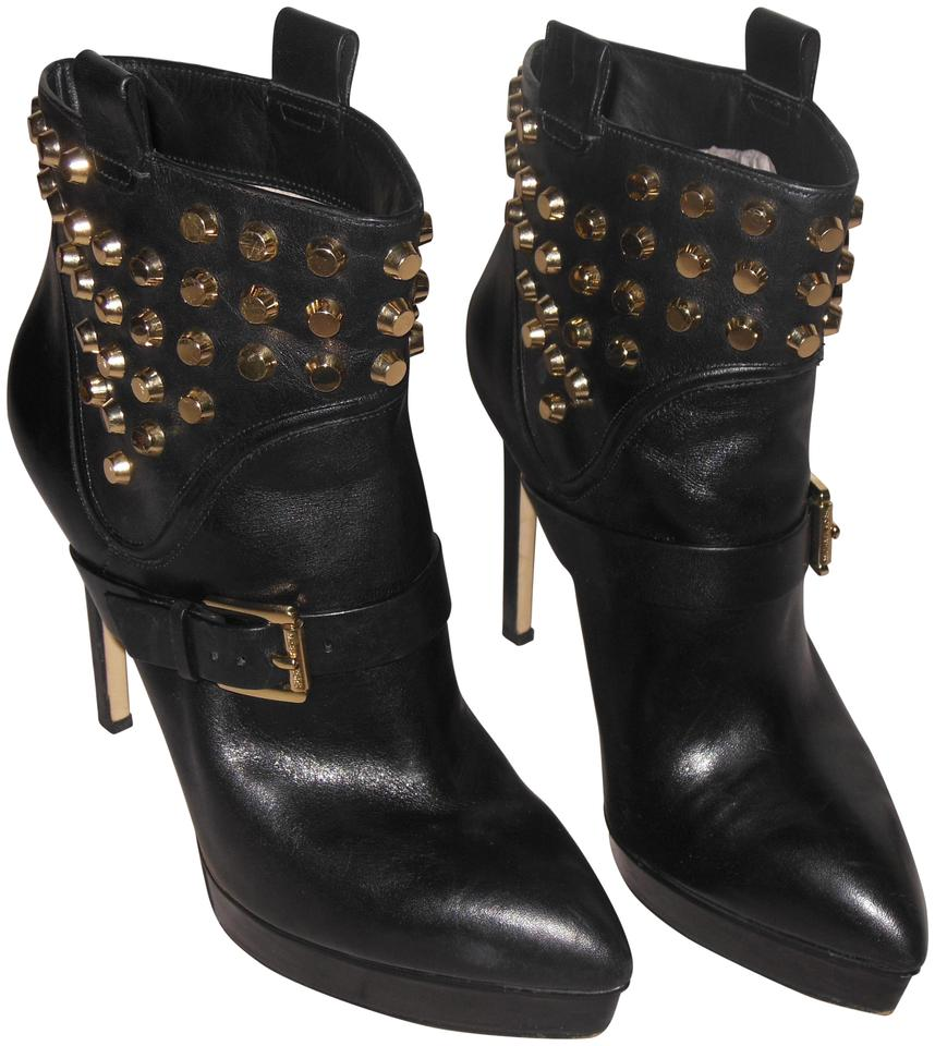 4374e1565b83 Michael Kors Black Bryn Gold Studded Ankle Boots Booties Size US 9 ...