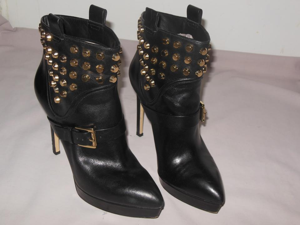 b6f09d97da92 Michael Kors Black Bryn Gold Studded Ankle Boots Booties Size US 9 Regular  (M