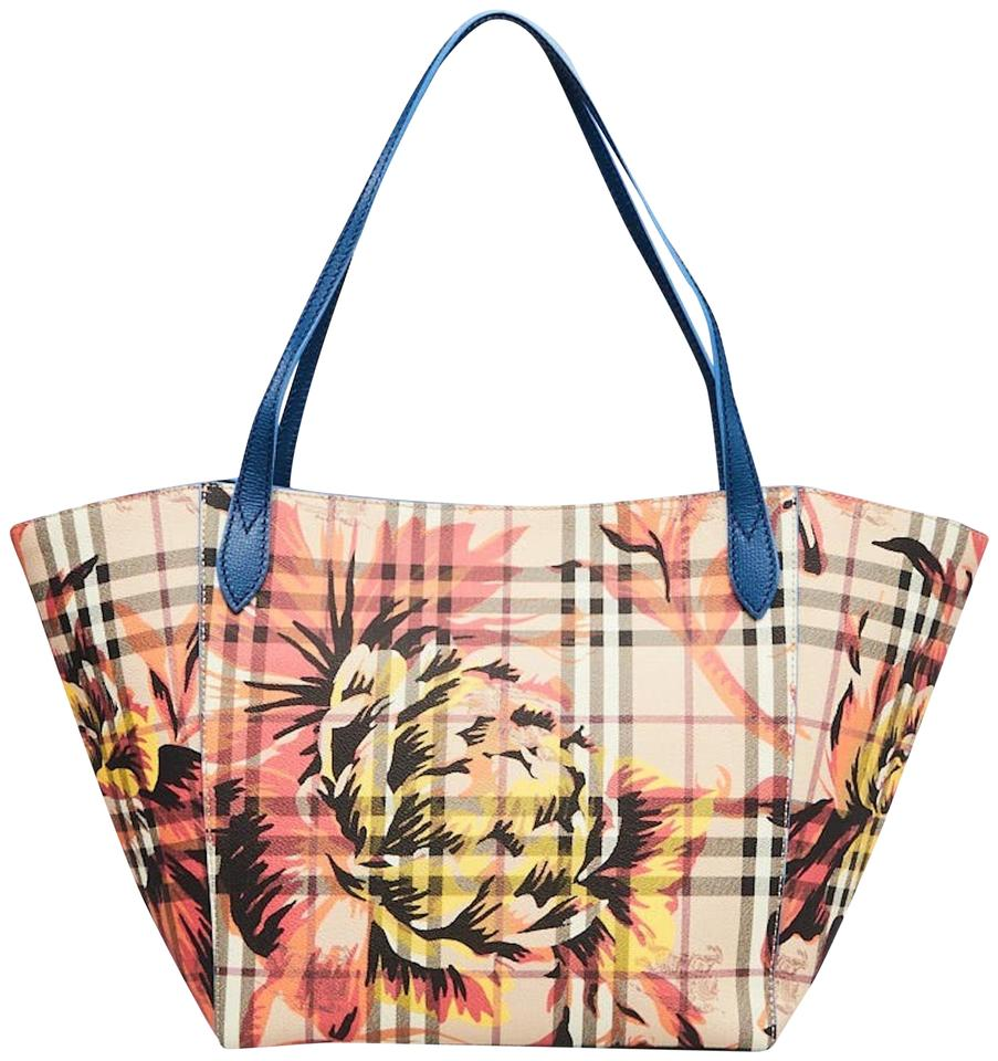 deda56c54 Burberry New Haymarket Check Coated Canvas Peony Rosse Canter Mineral Blue  Leather / Pvc Tote