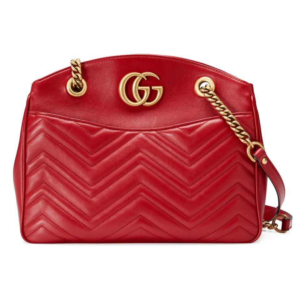 60b1bff12991 Gucci Marmont Gg Medium Shoulder Red Matelasse Leather Tote - Tradesy