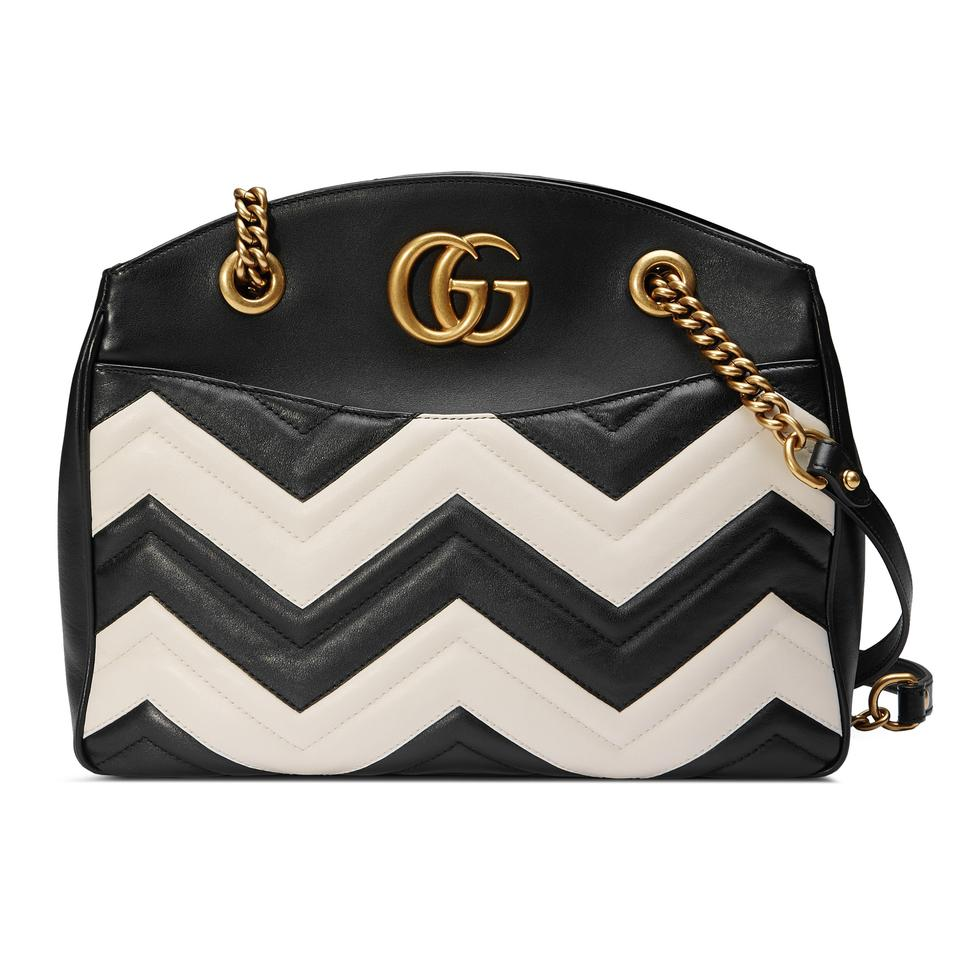 Gucci Marmont Gg Medium Black \u0026 White Matelasse Leather Tote