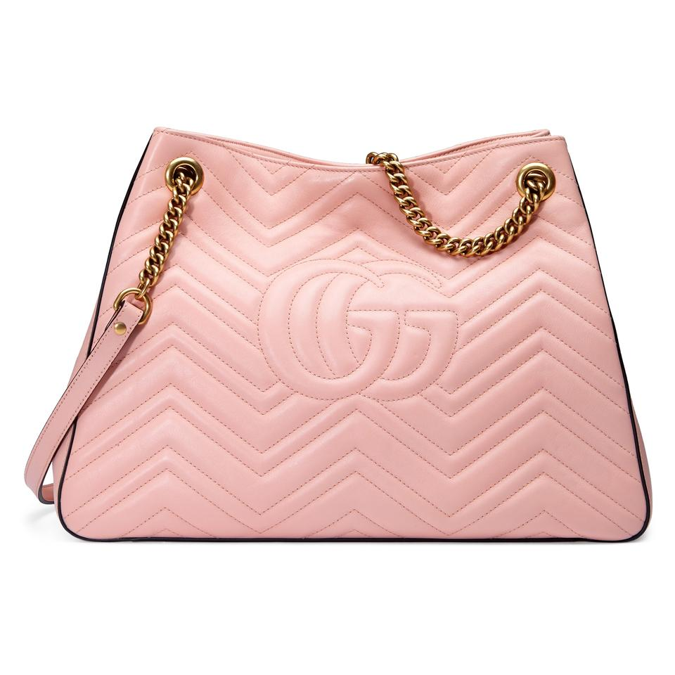 4bb942e2c1c Gucci Marmont Gg Medium Tote Pink Matelasse Leather Hobo Bag - Tradesy