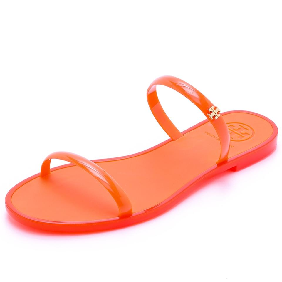 6cf3055ed4ff Tory Burch Poppy Coral Orange Two-band Jelly Slide Sandals Size US 8 ...