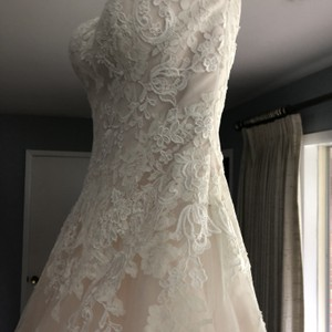 Pronovias Blush Tool and Lace Formal Wedding Dress Size 0 (XS)