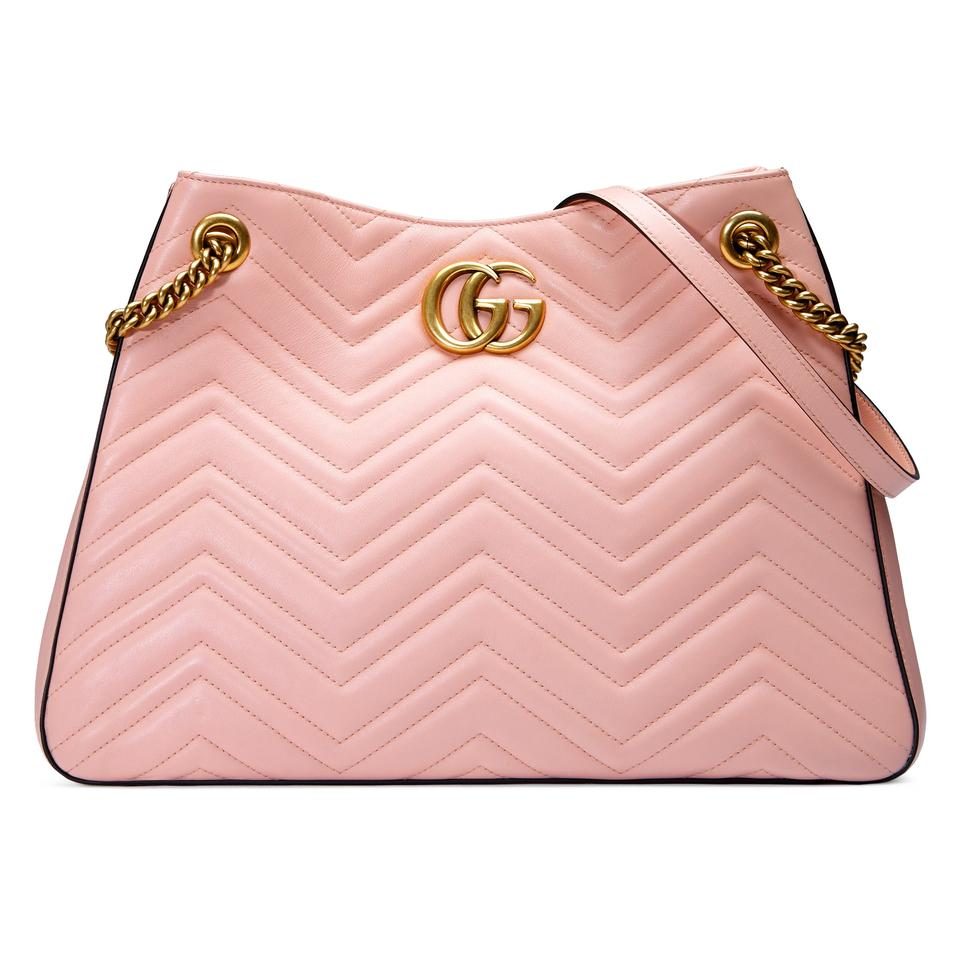 3632ce32c Gucci Marmont Gg Medium Hobo Pink Matelasse Leather Tote - Tradesy