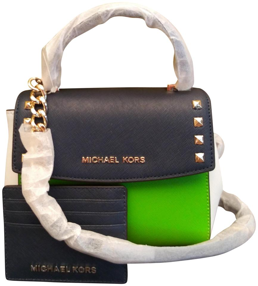 31524e28793f03 Michael Kors Karla Mini In Green and White Blue Leather Cross Body ...