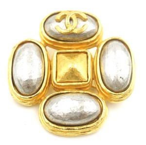 Chanel Rare CC pewter pearls gold hardware brooch pin charm