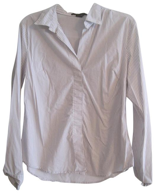 Grace Elements Gray and White Striped Shirt Blouse Size 12 (L) Grace Elements Gray and White Striped Shirt Blouse Size 12 (L) Image 1