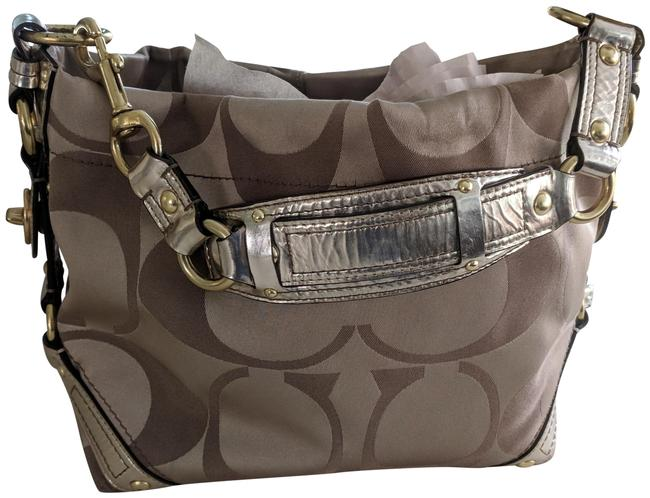 Item - Carrie Carly Signature Handbag Gold Jacquard Fabric with Leather Trim Satchel