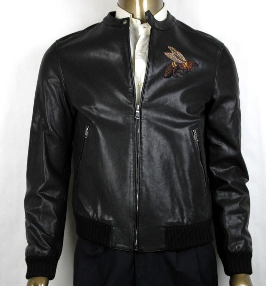gucci black washed calf bomber jacket w bee embroidery it 52r us 42r