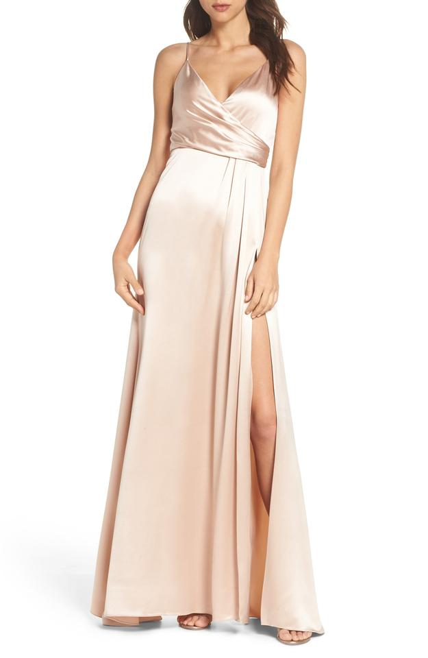 bf1626697476c JILL JILL STUART Rosy Nude Satin Faux Wrap April Slip Long Formal ...