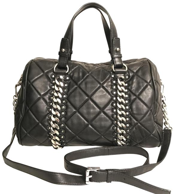 Item - Grayson Quilted Chain & Stud Black Silver Lambskin Leather Satchel