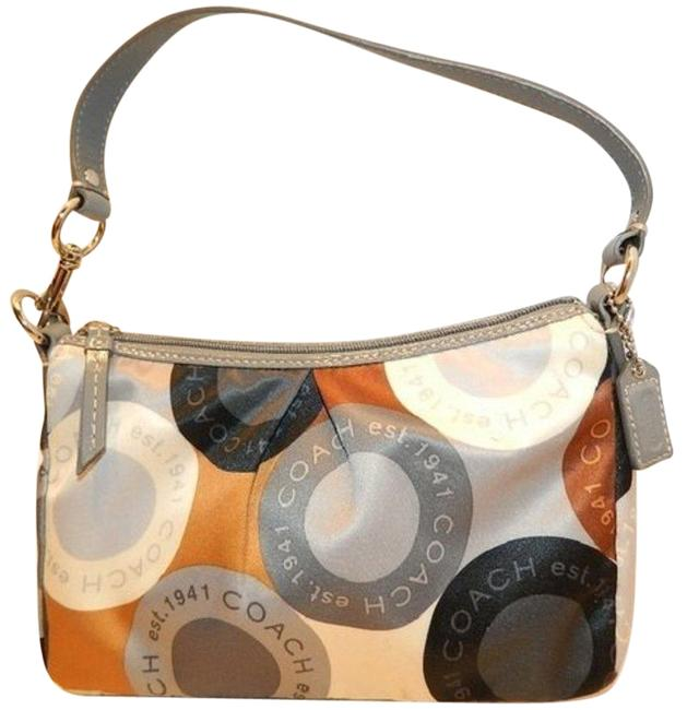 Coach Soho Snaphead Print Pleated Black/Gray/Gold Sateen/Patent Leather Baguette Coach Soho Snaphead Print Pleated Black/Gray/Gold Sateen/Patent Leather Baguette Image 1