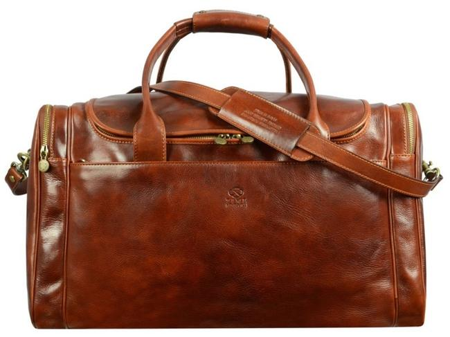 Item - Large Duffel - The Hitchhikers Guide To The Galaxy Brown Calfskin Leather Weekend/Travel Bag