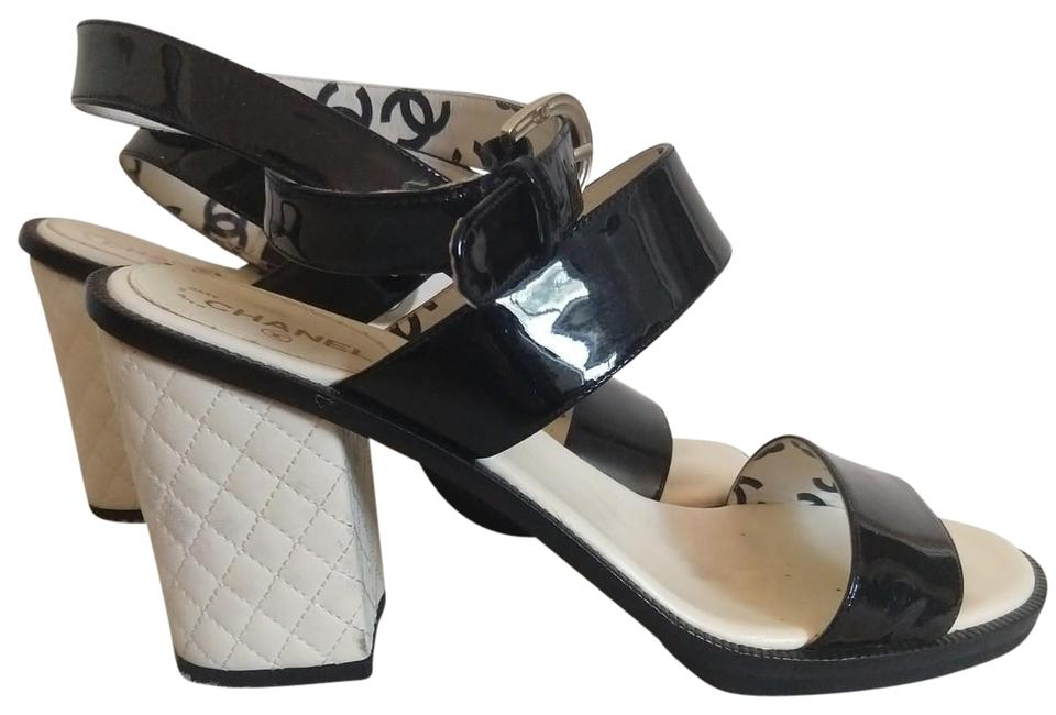 4c4ca09c7a425e Chanel Black and Cream 15s Patent Strappy White Quilted Leather Sandals