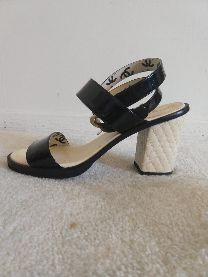 6e1f58ca4d37bb Chanel Black and Cream 15s Patent Strappy White Quilted Leather ...