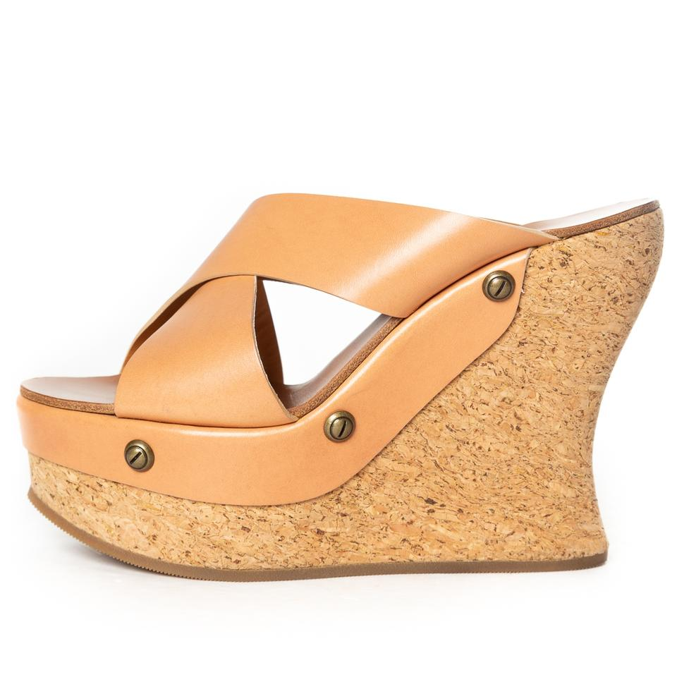 dc5649a60c Chloé Tan Leather Cork Wedge Sandals Size EU 38 (Approx. US 8 ...
